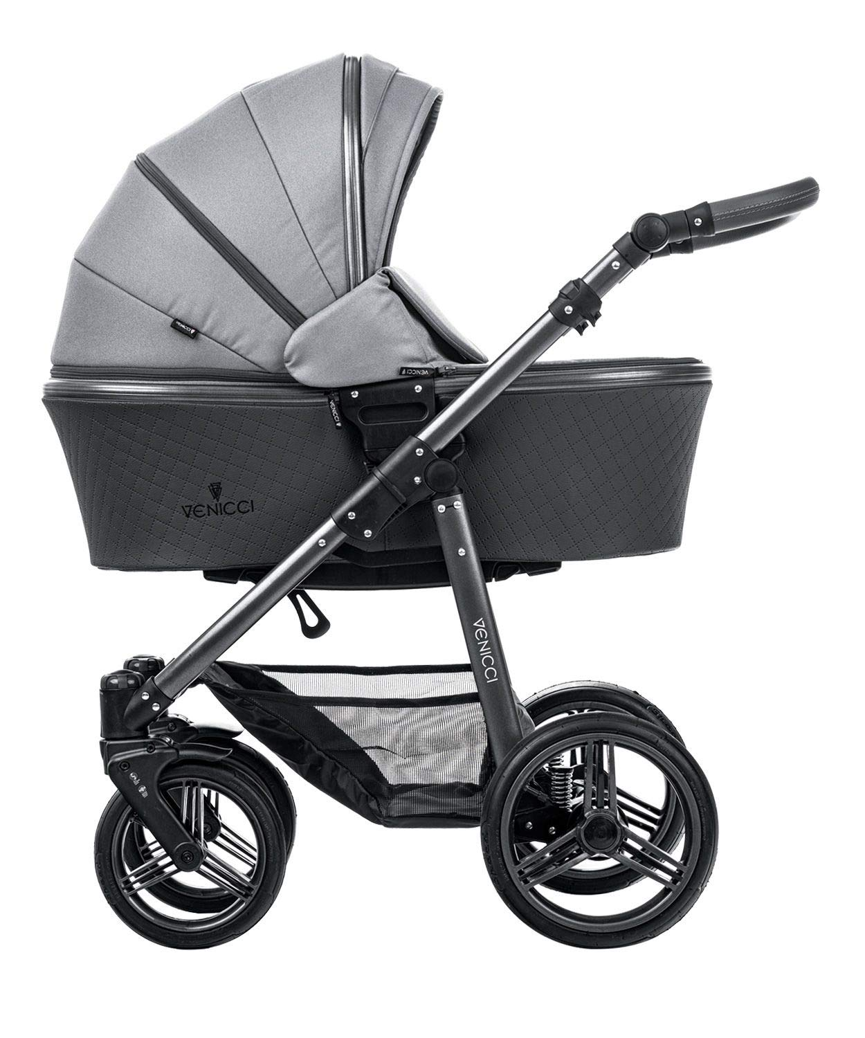 Venicci Carbo Lux 3-in-1 Travel System - Natural Grey - with Carrycot + Car Seat + Changing Bag + Apron + Raincover + Mosquito Net + 5-Point Harness and UV 50+ Fabric + Car Seat Adapters + Cup Holder Venicci 3 in 1 Travel System with included Group 0+ Car Seat 5-point harness to enhance the safety of your child Comfortable seat for baby with additional liners 2