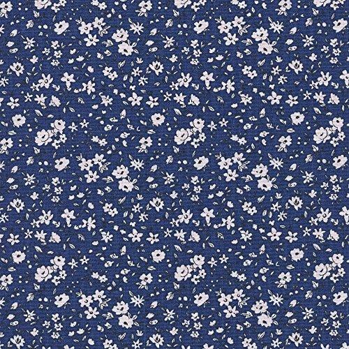 2a0302cc23 Tessuto stampato - La fleur de la liberté - tessuto floreale - fiori  bianchi su uno sfondo blu marino | 100% puro cotone | larghezza: 160 cm  (per ...