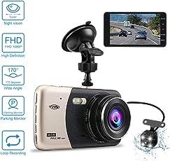 """Auto Kamera 4.0 """" Dash Camera Auto Tvird Dashcam FHD 1080p Dashcamera Recorder mit 170° Weitwinkel-6G Objektiv Parkmonitor/Bewegungserkennung/Loop-Aufnahme/G-Sensor (Dashcam) Ultradünne Nachtsichtdisplay"""