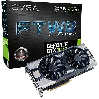 EVGA GeForce GTX 1070 FTW2 Gaming, 8 GB GDDR5, tecnología iCX - 9 sensores térmicos y LED RGB G / P / M, Ventilador Asynch, optimizada para diseño de Flujo ...