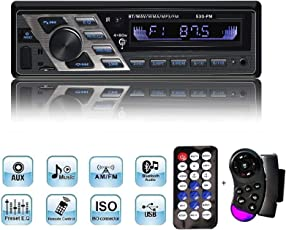 Autoradio, YOSASO 4 * 80W Auto Stereo Audio MP3 Player 7 Farben LCD-Bildschirm USB/SD / Aux/Bluetooth / FM 87,5-108 MHz mit 2 Fernbedienungen
