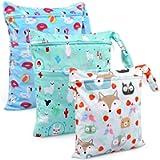 Wet Bag, BelleStyle Nappy Bag, 3 PCS Wet Dry Bag, Reusable Produce Bags, Wet Suit Bag, Waterproof Washable Hanging Large…