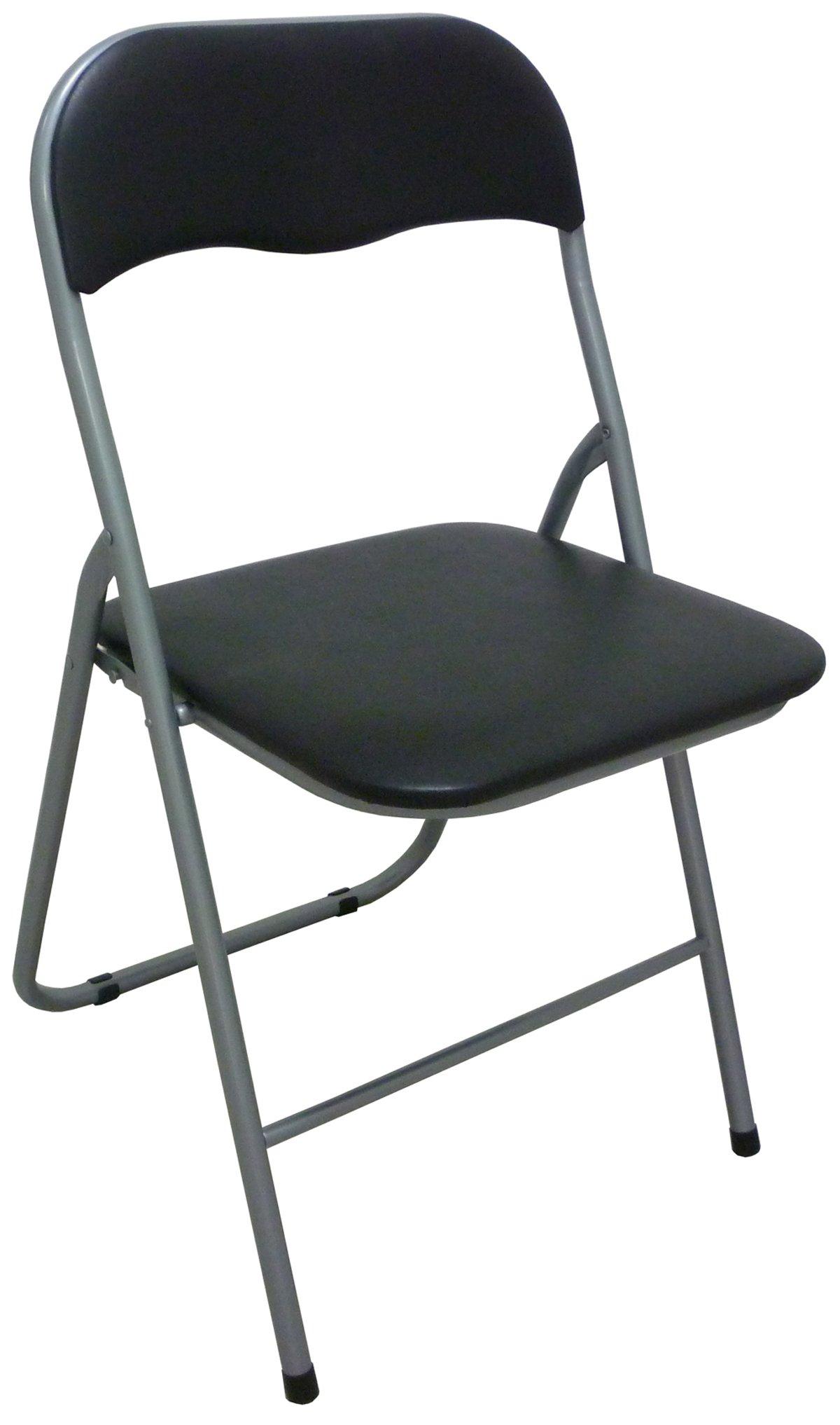 Sedia Poltrona Pieghevole nera in Metallo Imbottita per cucina salotto  campeggio