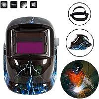 Froadp Automatik Schweißhelm Solar Schweißmaske DIN 9-13 Freie Einstellung mit großes Sichtfeld für alle Schweißanwendungen(Blitzschädel)