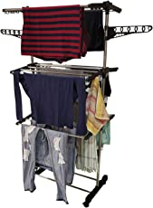 INDISWAN Pure Stainless Steel Cloth Drying Rack Stand - Lifetime Warranty* (Made in India)
