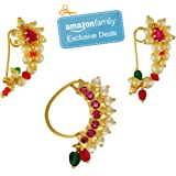 Vail Creations Multicolour Gold Plated Traditional Maharashtrian Clip on Nath Nose Ring Without Piercing Combo Set for Women