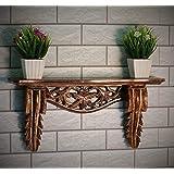 SKAFA Wooden 23X6X11 cm Carved Wall Shelf (Brown)