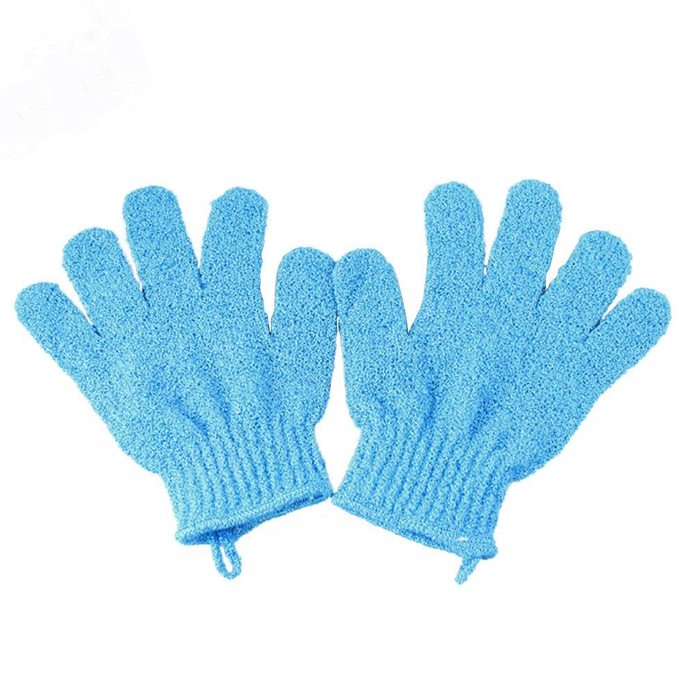 Frcolor 1 par de guantes de baño de ducha exfoliante, ducha de baño sauna scrubber mitt guantes para hombres y mujeres (azul)