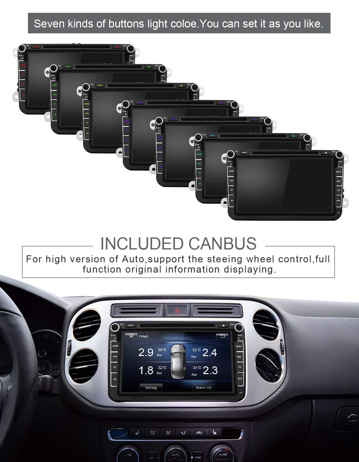 Aumume-Autoradio-fr-Golf-VW-Skoda-Seat-mit-Navi-Bluetooth-Untersttzung-GPS-Navigation-Radio-Parkkamera-Lenkradsteuerung-mit-8-GB-Karte