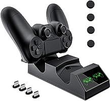 Cargador Controlador Mando PS4, KNONEW PS4 Estación de carga USB Base de Carga Rápida para Sony Playstation 4 / PS4 / PS4 Pro / PS4 DualShock mando delgado con 4 dongles de carga micro USB y 4 Grips para pulgar