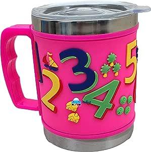FunBlast Stainless Steel Mug Emboss Hot and Cold Coffee / Milk/ Tea Mug for Kids Cartoon Print Soft Rubber Design Cup - Multicolor