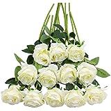 Tifuly Lot de 12 Roses Artificielles, Deco Fausses Fleurs en Soie avec Tige Simple de 19,68 pouces, Fleur Réaliste pour Fête