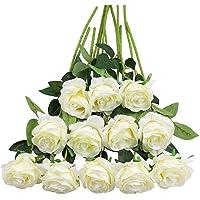 Tifuly 12 Pezzi Rose Artificiali, realistica Singola a Gambo Lungo Rosa Finta, Bouquet da Sposa da Sposa in Seta per…