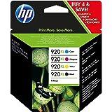 HP 920XL C2N92AE Combo Pack Confezione da 4 Cartucce XL per Stampanti a Getto d'Inchiostro, Compatibili con Officejet Serie 6