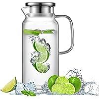 Ehugos Cruche à Eau, Carafe en Verre avec Inoxydable Couvercle 1.8L Pichet en verre Borosilicate pour eau chaude/froide…
