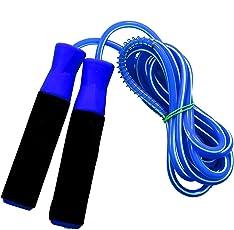 BODY MAXX Gym Skipping Rope with Foam Grip Handle Bars (Blue)