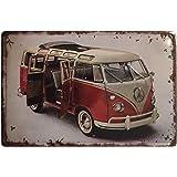 Chapa Decorativa Vintage Volkswagen Bulli. Placa/Cartel de Pared de Metal de Furgoneta Volkswagen Bulli para Garage, Taller,
