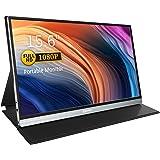 Corprit Monitor Portátil - Pantalla de 1080P FHD Monitor 15 Pulgadas USB C con Altavoces HDMI Dual de Tipo C y Cubierta Intel