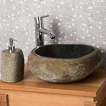 wanda collection Vasque à Poser en Pierre Naturelle Salle de Bain Galet 30  cm 3eacdc49b944