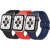 Wanme 3 Pack Correa Compatible con Apple Watch 38mm 42mm 40mm 44mm, Pulsera de Repuesto de Silicona Suave para iWatch Series