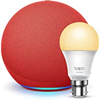 Echo (4th generation) | With premium sound | PRODUCT(RED) + TP-Link Tapo Smart Bulb (B22), Works with Alexa
