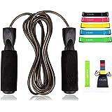 3JBAND Springtouw plus een fitnessband, verstelbaar, ergonomische stalen kogellagers, zachte grip en verstelbare kabel voor f