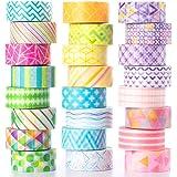 YUBX Washi Tape, 24 Rouleaux Masking Tape Pastel 10mm de Large 3m de long Ruban Adhésif Décoratif, Japonais en Washi, Ruban A