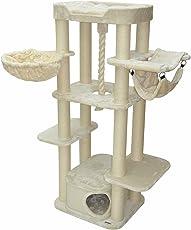 nanook Kratzbaum XL Katzenkratzbaum Attila XL Liegemulde Gesteppt - XL Katzenhöhle mit Teppich - Hochwertiger Plüsch - für große Katzen - 177 cm - beige Creme