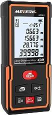 Laser Entfernungsmesser, Meterk Handheld Digital Hochpräzisions-Entfernungsmesser M/In / Ft Datenspeicherfunktion LCD Display Hintergrundbeleuchtung Elektronische Ebene (40m)