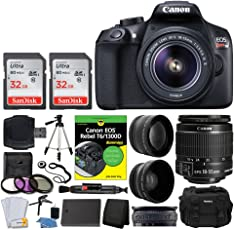 Canon EOS Rebel DSLR T6 Camera Body + Canon 18-55mm EF-S IS II Autofocus Lens + Wide Angle & 2x 58mm Lens + SanDisk 64GB Card + T6/1300D for Dummies + Photo4Less Gadget Bag + Quality Tripod Ð Full Kit