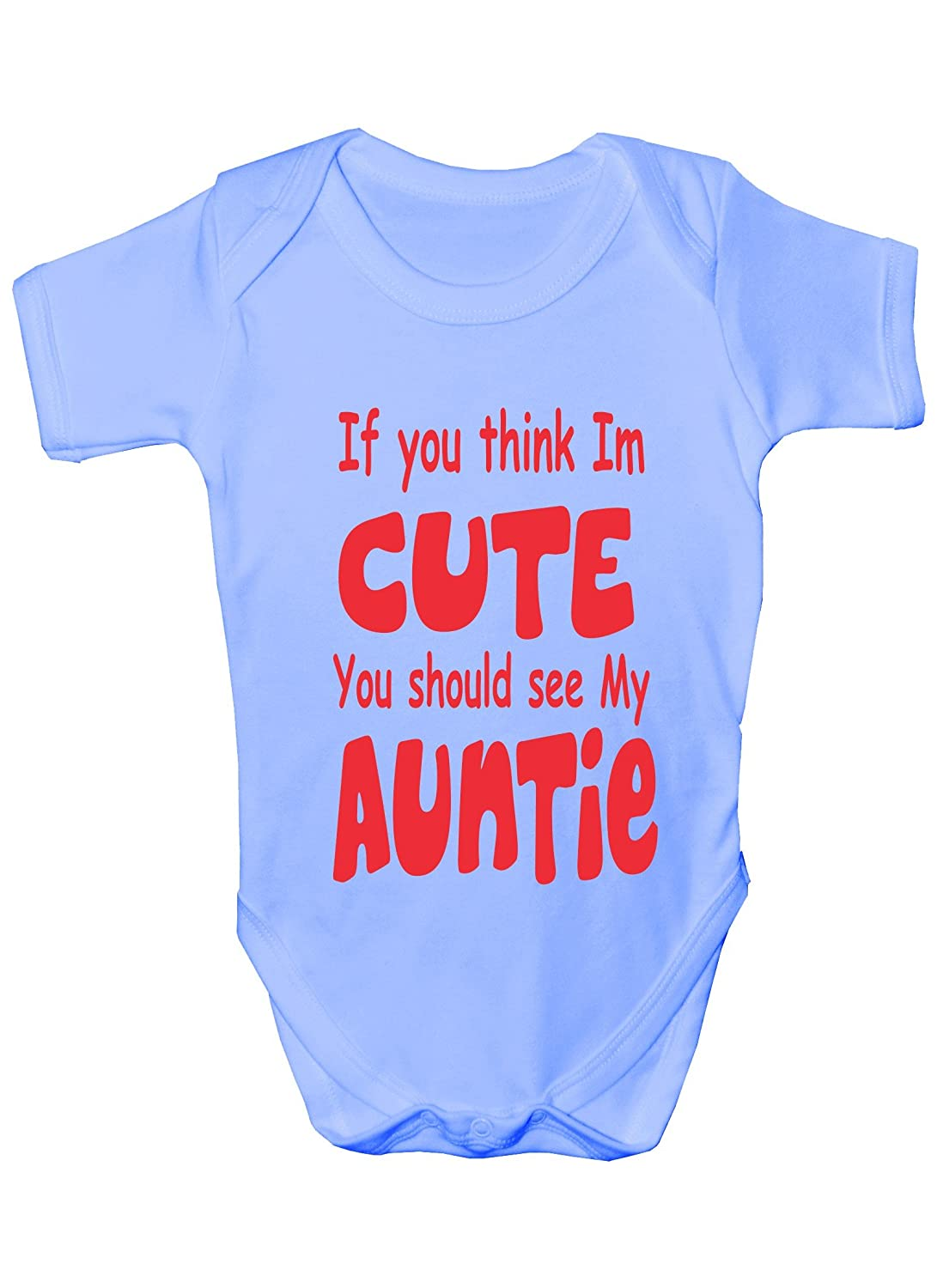 Think im cute see my auntie present funny babygrowbabies gift think im cute see my auntie present funny babygrowbabies gift boygirl vest babies amazon clothing negle Image collections