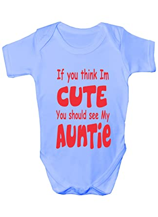 Think im cute see my auntie present funny babygrowbabies gift think im cute see my auntiefunny babygrowbabies gift boy negle Image collections