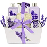 bath spa gift set, body & earth gift basket 6-piece lavender scented spa basket kits for women, contains shower gel…