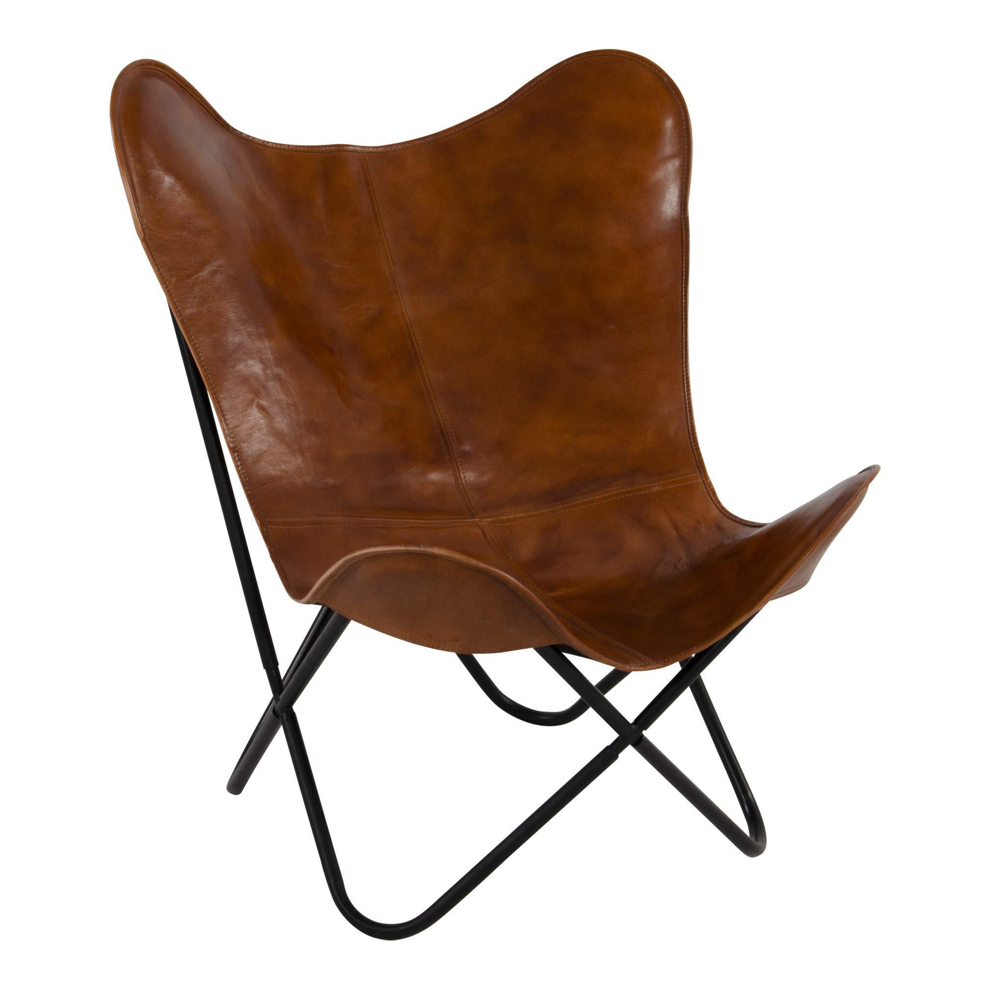 Lesli Living Schmetterlingsstuhl Faltstuhl Butterfly Chair braun 75x75x87 cm Leder 1