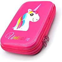 INFInxt Cute Embossed Hardtop Pencil Pen Holder Case Box with Compartments - Girls Cosmetic Pouch Bag, Stationery Organizer (Pink)