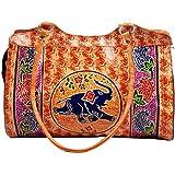 ZINT Hand Tooled Painted Shantiniketan Genuine Leather Tribal Ethnic Boho Shoulder Bag Purse Handbag/Vintage Elephant Bag