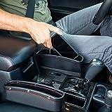 Lukzer 1 PC Leather PU Car Console Side Storage Organizer Seat Gap Filler Pocket Catch Caddy Space Saver Internal Storage Org