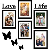 Amazon Brand - Solimo Set of 5 Photo Frames (6 X 8 Inch - 5) With Mount Paper & Love Life & 3 Butterfry Plaques.