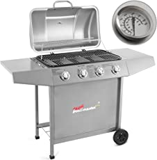 Broil-master Barbecue grill griglia giardino barbecue a gas con 4 bruciatori principali nel colore argento