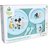 Ciao- Mickey Mouse Disney Baby Set Pappa 5 Pezzi Piano, Piatto Fondo, Tazza, forchetta, Cucchiaio, Azzurro, 33540