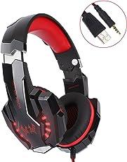 Gaming Headset für PS4 PC Xbox one, Surround Sound Gaming kopfhörer 7.1 LED Over Ear Kopfhörer mit Mikrofon G9000, Noise Cancelling, Sport Performance Ohrpolster, Lautstärkeregelung