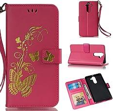 Nokia 2 Hülle, YYX Nokia 2 Schutzhülle Premium PU Leder Brieftasche Magnetverschluss Lederhülle 3D Schmetterling Heißprägen Muster Flip Folio Handyhülle