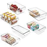 mDesign Set med 6 köksförvaringsbricka – stor låda med handtag – perfekt som köksbricka i köksskåpet eller som kylskåpsorgani