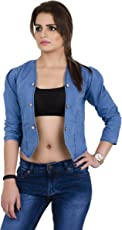 G.S.A ENTERPRISES Women Solid Denim Full Sleeve 6-Button Without Collor Light Blue Shrug