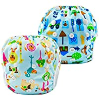 Swim Diapers 2 Pcs One Size Reusable & Adjustable Diapers Swimming Lesson-Size N-5 (8-36lbs)