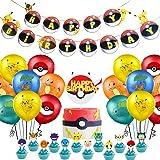 WENTS Palloncino Pokémon 42 Pezzi Pikachu Pokemon Palloncini in Lattice Palloncino Pokemon Happy Birthday Banner Cake Topper