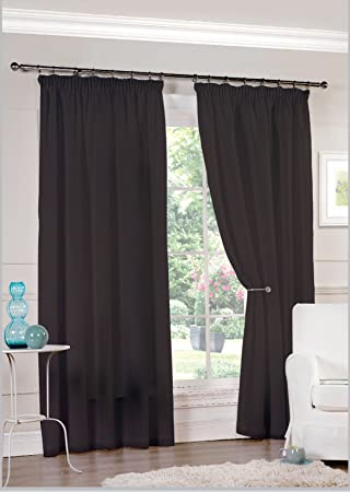 Pair Of Ready Made Black Lined Tape Top Voile Curtains (90