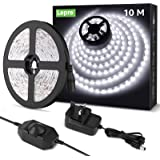 Lepro 10M LED Strip Lights Kit, Dimmable, Cool Daylight White 6000K, Plug and Play LED Tape for Bedroom, Kitchen Cabinet, Mir
