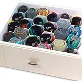 INOVERA (LABEL) Honeycomb Underwear Innerwear Socks Organizer Drawer Clapboard Closet Divider 8 Strap, (18 Compartment, White