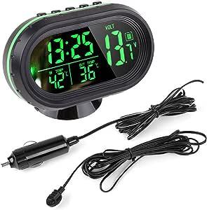 Auto Uhr Thermometer Temperatur Messgerät Spannung Digitale Led Beleuchtete Dc 12v 24v Von Enshey Auto